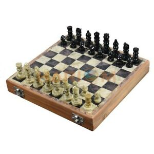 """8"""" Handmade Arts Travelling Folding Wooden Chess Set With Soap Stone Pieces H019"""