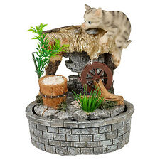 Indoor Table Top Waterfall Water Feature Kitten On Shack Desk Home Battery NEW