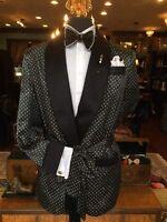 Men's Black Polka Dot Smoking Jacket Robe Evening Party Host Wear Blazer Coat