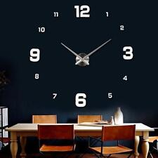 Silver Wall Clock Large Watch Clock 3D English Number Luxury Gift Home Decor GA
