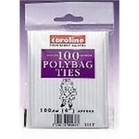 """Caroline Polybag Ties - 100mm 4"""" Approx - Closures Polythene x Pack 4"""
