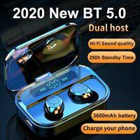 Bluetooth 5.0 Earbuds Wireless Earphones TWS Stereo Bass in-Ear Headphones IPX7