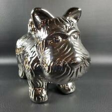 "Silver Chrome Finish Whimsical Ceramic Scottie Dog FIGURINE 8-1/2"" Long NWT"