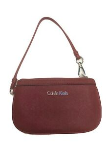 Calvin Klein Red Faux Leather Wristlet With Inner Pocket LOGO