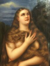 New listing Fabulous Antique German Porcelain Plaque of Maddalena after Tiziano Vecellio