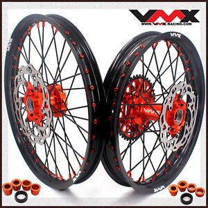 "VMX 21"" 19"" MX Wheel Disc Fit SX SXF XC 250 350 2003-2020 Orange Nip Black Spoke"
