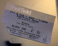 Keane Ticket Stub - Sheffield Arena 06/02/2009 - Rare Concert Memorabilia