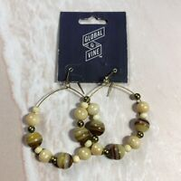 NWT Enesco Global & Vine Large Brass Tone Stone Bead Dangle Hoop Boho Earrings