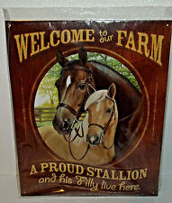 """Horses Metal Sign Welcome To Our Farm New 16"""" X 12.5"""" Wall Hanger Decor"""