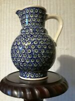 "Beautiful Large Boleslawiec Polish Pottery Pitcher 9.5"" Tall Ivy Design."