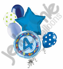 7 pc 4th Happy Birthday Space & Aliens Balloon Bouquet Party Decoration Blue