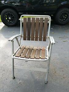Vintage Redwood & Aluminum  Folding Lawn Chair  Wooden Slats w/Shotgun Arms