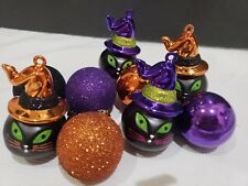 (9) Halloween Glitter Black Cat Purple Orange Ball Ornaments Decorations 3.25""