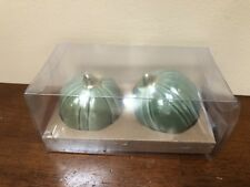 New Ceramic Green & Gold Pumpkins Salt & Pepper Shaker Set Gourd Thanksgiving