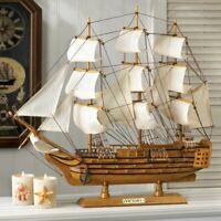 HMS Victory Wood Ship Model Sailboat Boat Nautical Ocean Sailing Statue Object