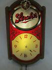 Vintage 1986 Stroh's Beer lighted spinning motion bar tavern sign clock