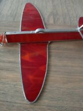 Stained Glass Airplane Hand Made & signed Kaleidoscope Sun Catcher / marble