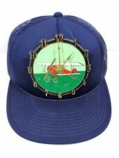Vintage 1985 Ramar Ind Airplane Clock Snap Back Dark Blue Baseball Cap Works