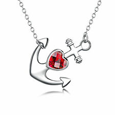 925 Sterling Silver CZ Horoscope Ruby Crystal Cupid's Arrow heart Necklace 18""