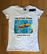 AMPLIFIED STONE ROSES WOMENS GIRLS WHITE SLIM FIT T SHIRT LARGE BNWT