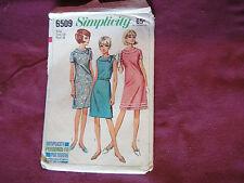 "Vintage Simplicity Pattern 6509 Miss Dress 60s Sz 18 Bust 38"" A-Line Zipper"