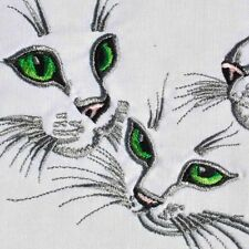 Embroidered Quilt Block Panel KITTEN CAT TRIO 100% Cotton White Fabric Makower