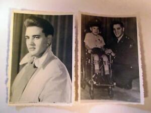 "ELVIS PRESLEY 2 Original Fan Club Photo 1959 1960 2-1/4"" X 3-1/4"" Seattle signed"