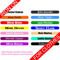50 IRON ON Custom Name Personalised Vinyl Stick On Labels Tags School Kids Shirt