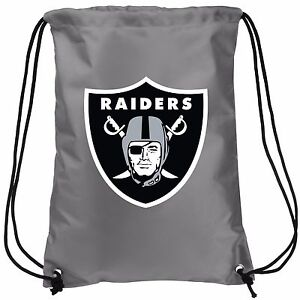 Oakland Raiders Double Sided Back Pack Sack Drawstring Gym Bag Tote NEW Backpack