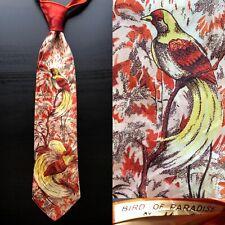 Merlé 'Bird of Paradise' Orange & Yellow Swing Tie 1940s 1950s Euc Vtg Bold Look