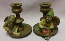 Tom Clark Gnome Candlesticks Mrs Wink Edi 73 & Wink Too Edi 45 Coas ~ Retired