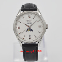 41mm Corgeut white dial SS case date week Moon Phase automatic mens watch