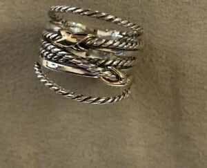 David Yurman Double X Crossover Ring 925 Sterling Silver 18k Gold size 6.5