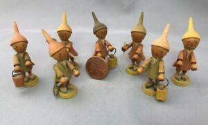 ERZGEBIRGE Vintage SEVEN DWARFS Miniature Wood Figurine Germany Elf Christmas