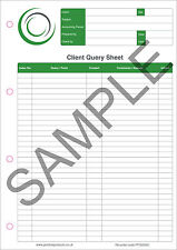 10 x A4 Query & Answer Client Accounting Bookkeeping Note Pad 5 Columns 60 Sheet