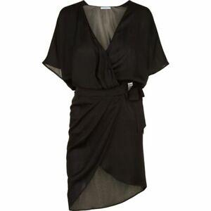 LA PERLA Black Silk Wrap Cover Up Dress Beyond the Beach Org $1100! New UK 14