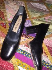 LADIES VINTAGE DRESSY Black Martinez VALERO BLOCK HEEL PUMPS LEATHER  SZ 6.5
