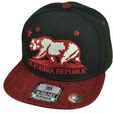 Cali California Republic Bear Logo Twill Pattern Hat Cap Snapback Black Red