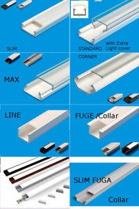 Ab 1,90 €/M 2M LED Profil u Abdeckung Leiste Schiene f. LED Band Streifen Stripe