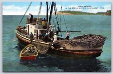 Fishing Purse Seining in the Scenic Pacific Northwest Linen Postcard Unused