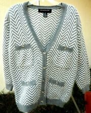 Women Silk Angora Vtg Sz M L Gray Chevron Striped Cardigan Sweater Samantha Hall