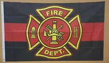 FIRE DEPARTMENT RED LINE FLAG 3'x5' FIREMAN VOLUNTEER SAFETY PRIDE SUPPORT