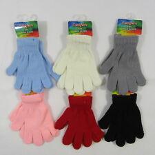 Kids Childrens Boys Girls Gloves Magic One Size Winter Warm Black Stretch Cream
