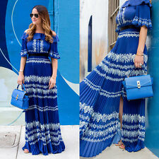 Self-Portrait Off the Shoulder Blue lace Pleated Maxi Dress New BNWT UK 8 IT 40