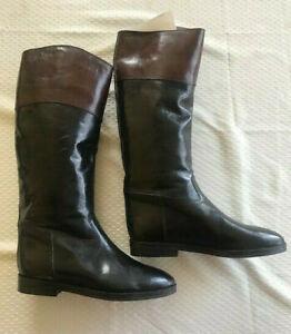 Womens Equestrian Style Calf Boots, Balck/brown Joan & David Cavalier, 38.5