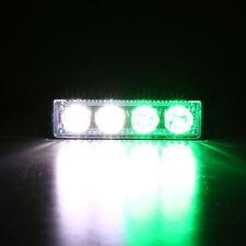 4  LEDs Emergency Strobe Warning Flash Flashing Grill Light Green&White Car Boat