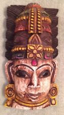 Primitive Hand Carved Painted Wood Facemask Mask Red Brown Yellow Black 3D Tibet