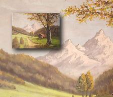 Der Watzmann. Original altes Landschaftsgemälde, Ölgemälde, signiert HORN.