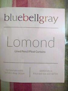 NEW Bluebellgray LOMOND pencil pleat curtains 167 x 182 cm. 100% cotton. BNIP
