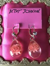 Betsey Johnson Vintage Clear Lucite Coral Pink Carved Rose Tear Drop Earrings
